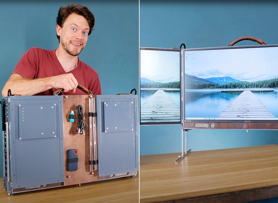 Triple Monitor Suitcase Computer Ryzen RTX 3080 GPU