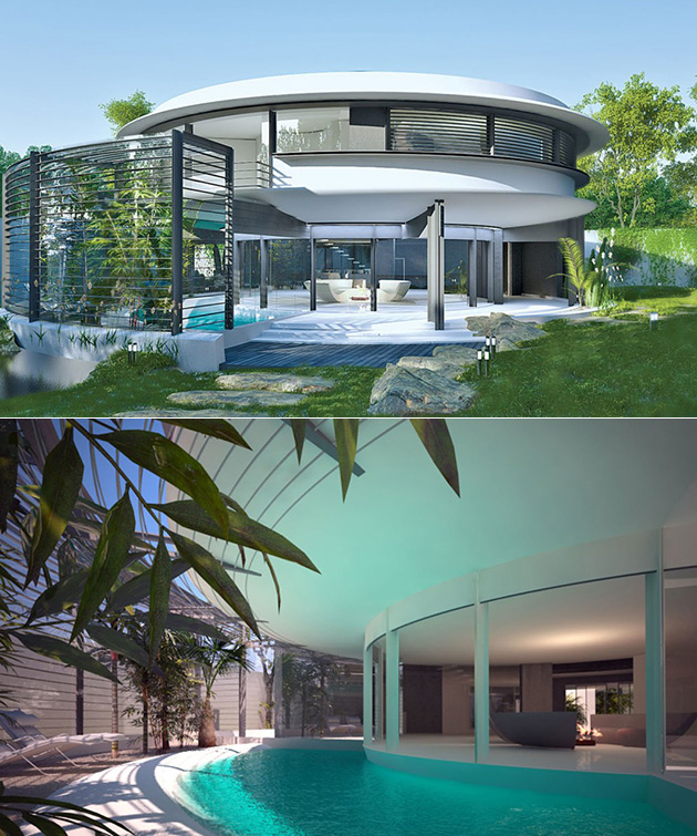 Ufo house comes complete with a 2 story library and curved for 2 story house with pool