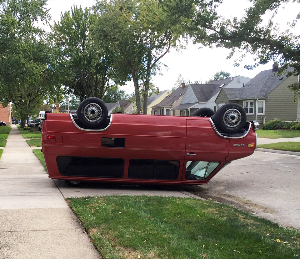 Upside Down Backwards GMC Van
