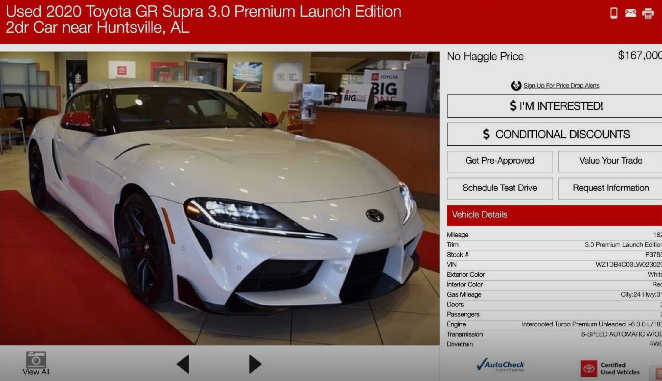 Used 2020 Toyota GR Supra 3.0 Launch Edition