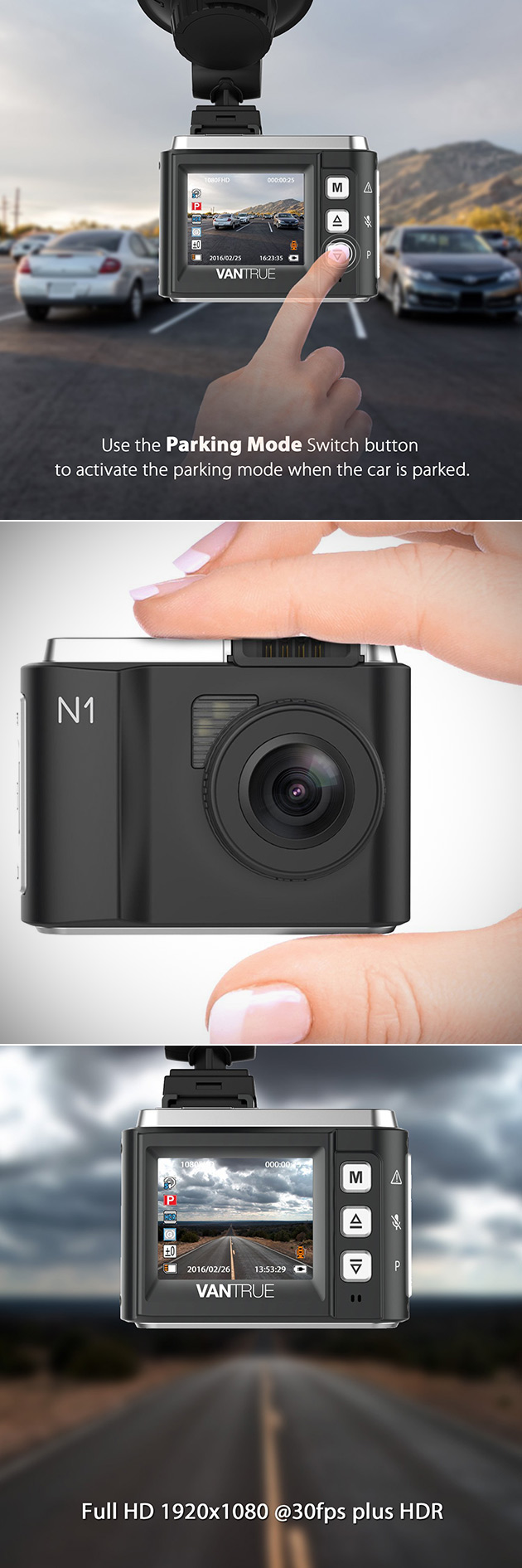 vantrue n1 mini dash cam records in 1080p with night. Black Bedroom Furniture Sets. Home Design Ideas