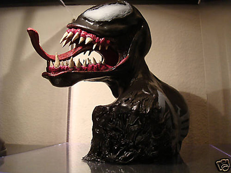 "At $1999 on eBay, this one-of-a-kind Venom sculpture ""stands 8 inches tall"