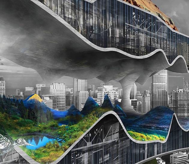 Apocalyptique Verticale Usine Suce dans la Ville de ses Déchets pour Produire de l'Énergie