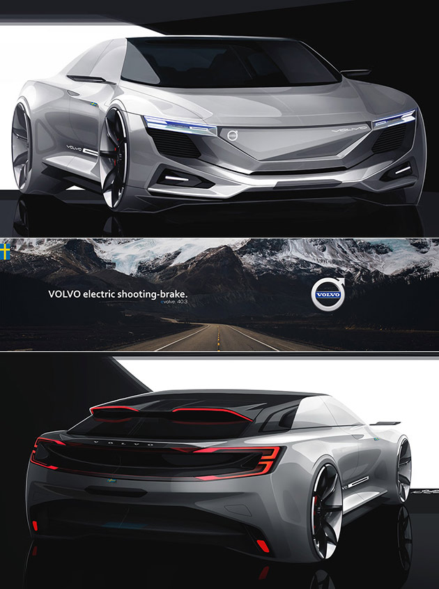 volvo electric shooting brake looks like a cross between the acura nsx and audi r8 techeblog. Black Bedroom Furniture Sets. Home Design Ideas