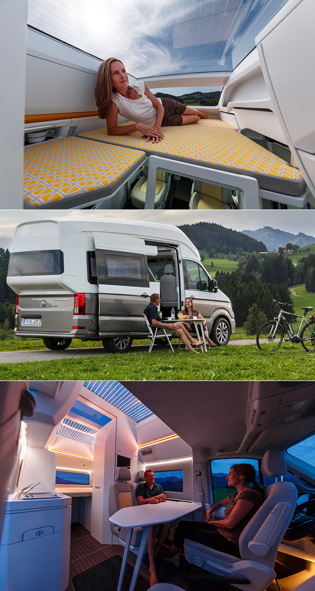 vw california xxl concept is the ultimate camper van includes super high roof techeblog. Black Bedroom Furniture Sets. Home Design Ideas