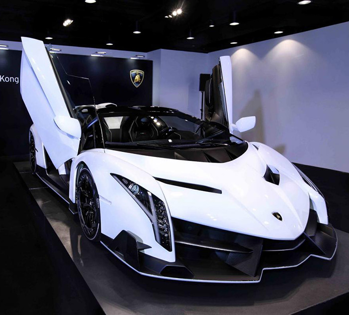 White Veneno Roadster