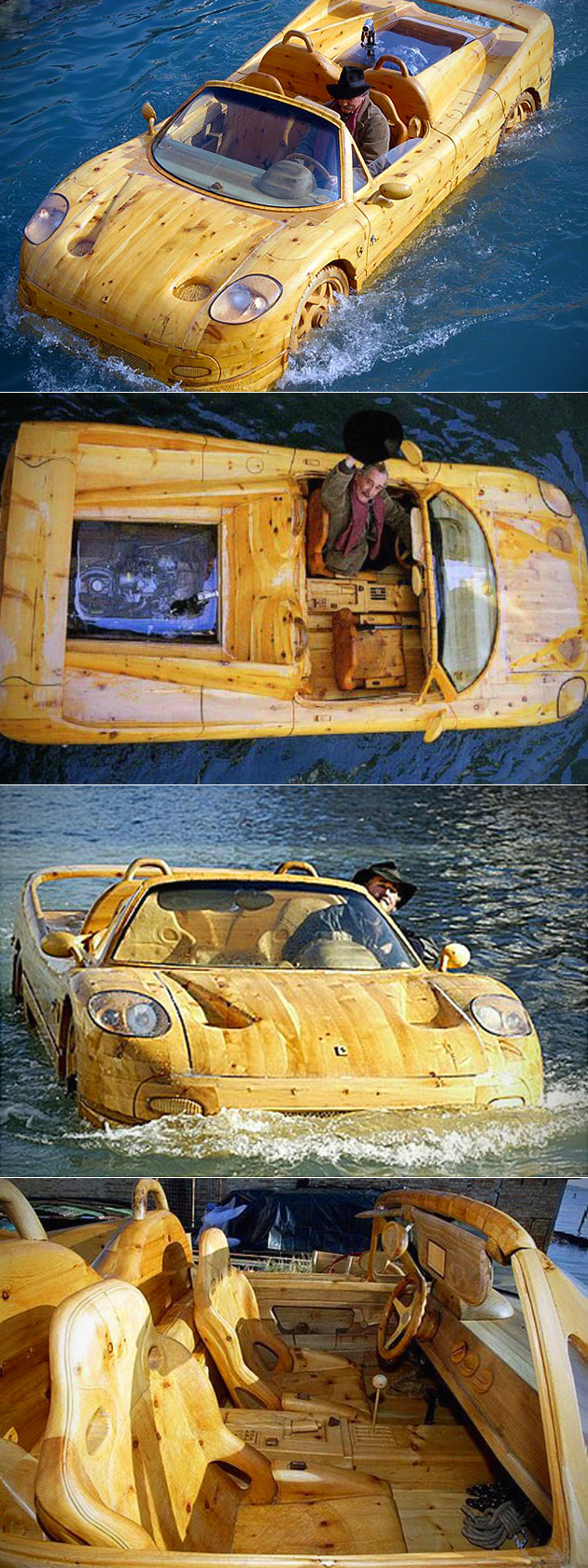 Wooden Ferrari F50 Hits the Venice Canals in Italy, Doubles