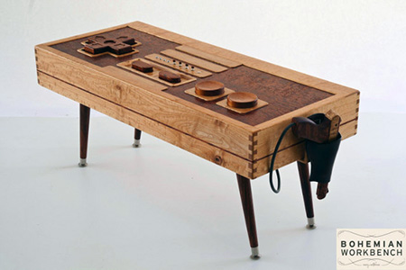 wooden nes controller coffee table is fully-functional - techeblog