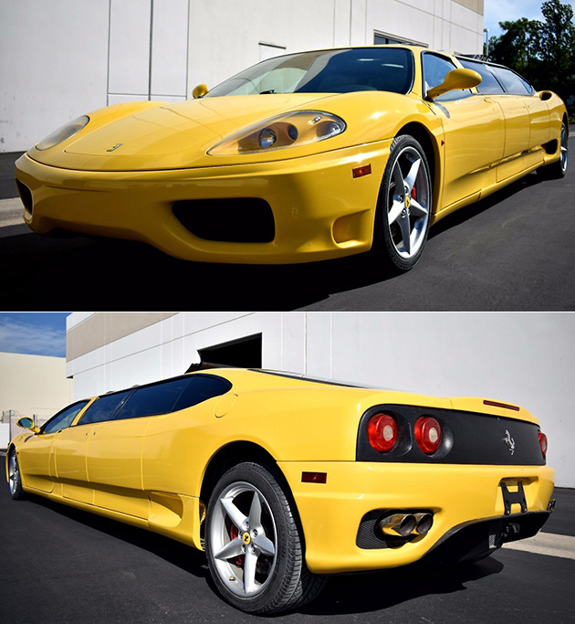 yellow ferrari 360 limousine is one of a kind fails to sell in