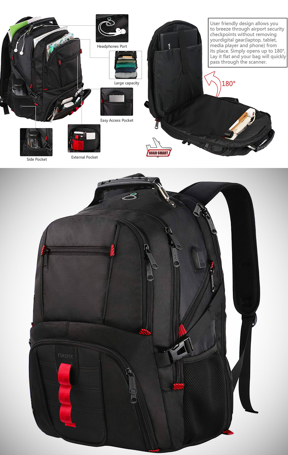YOREPEK Extra Large Backpack