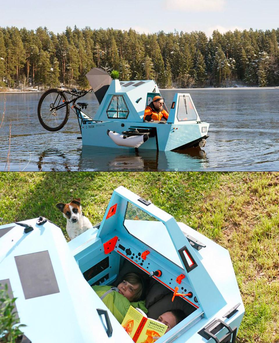 Z-Triton Amphibious Bike House Boat